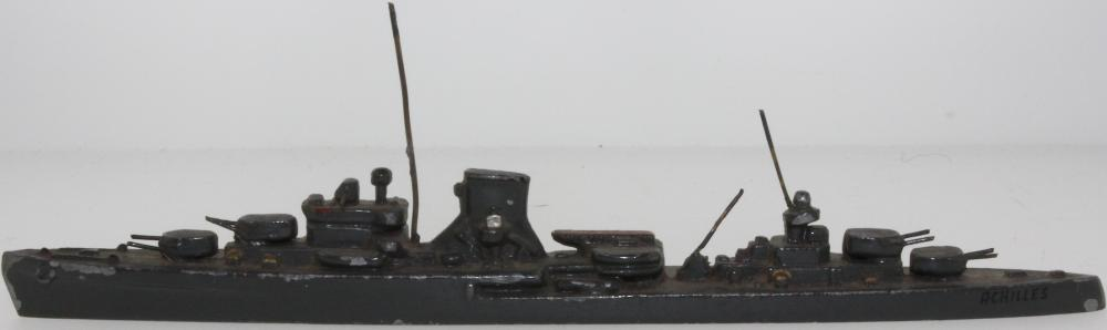 WWI Germany. Vintage Model of Battleship in Lead with paint mostly intact