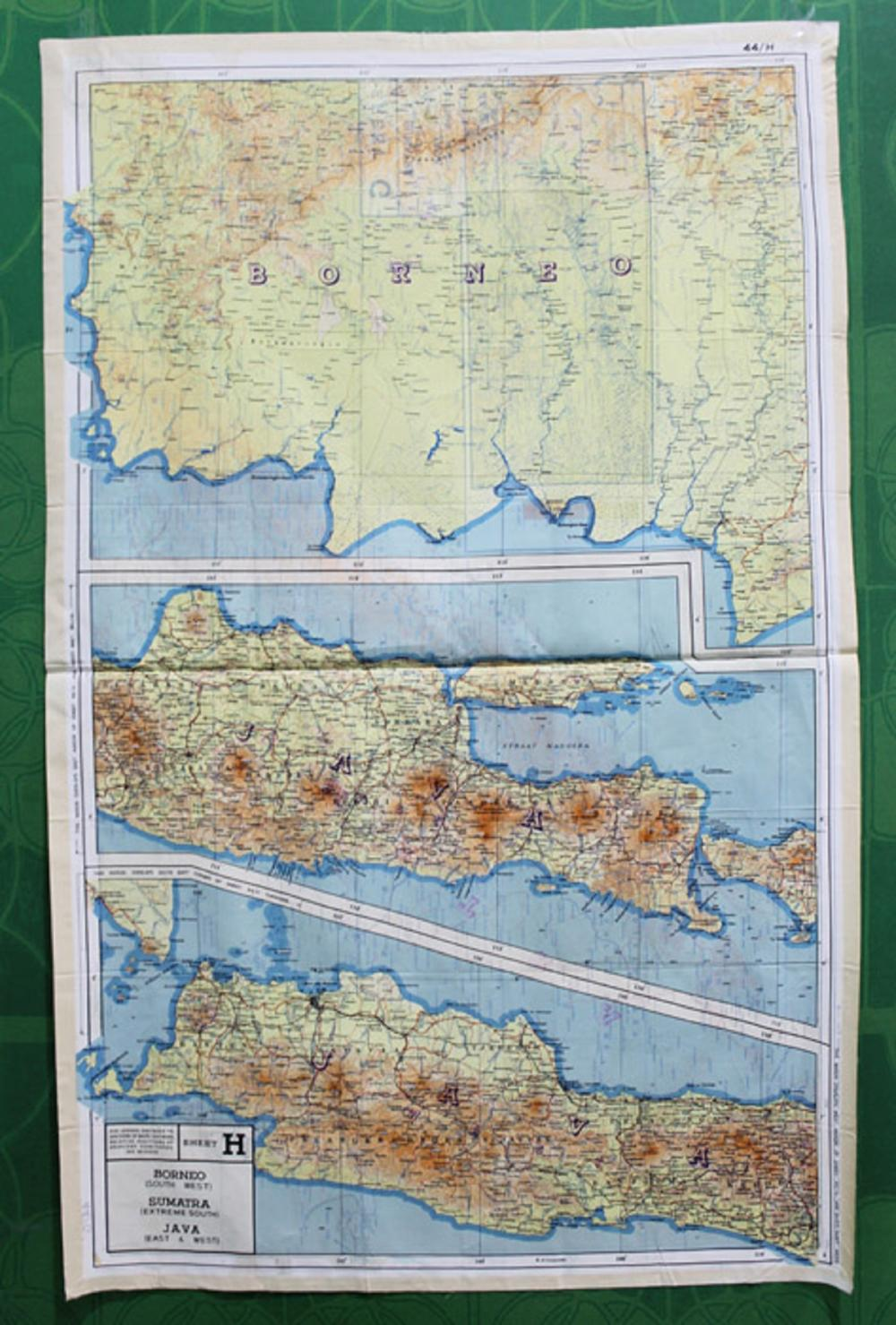 WWII U.S. A(rmy) A(ir) F(orce) Cloth Map of the Borneo, Sumatra & Java