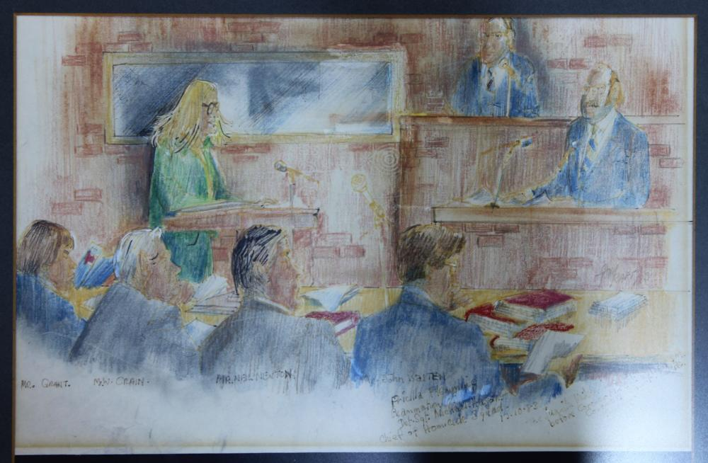 Unique and atmospheric Courtroom Sketch drawn at the Coronial Enquiry into the disappearance of Juanita Nielsen in July 1975 by 'The Sun' artist Tony Rafty
