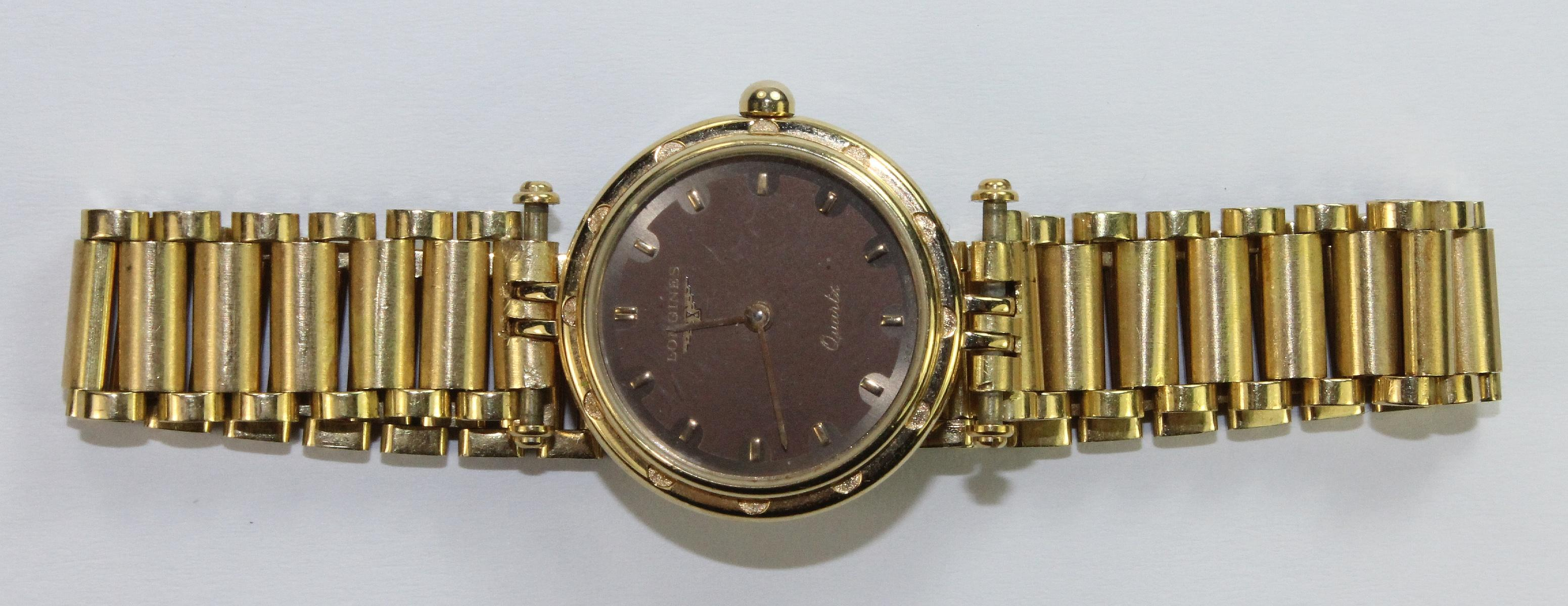 Longines Ladies Watch in 18ct Yellow Gold with matching Band & simple Brown Dial
