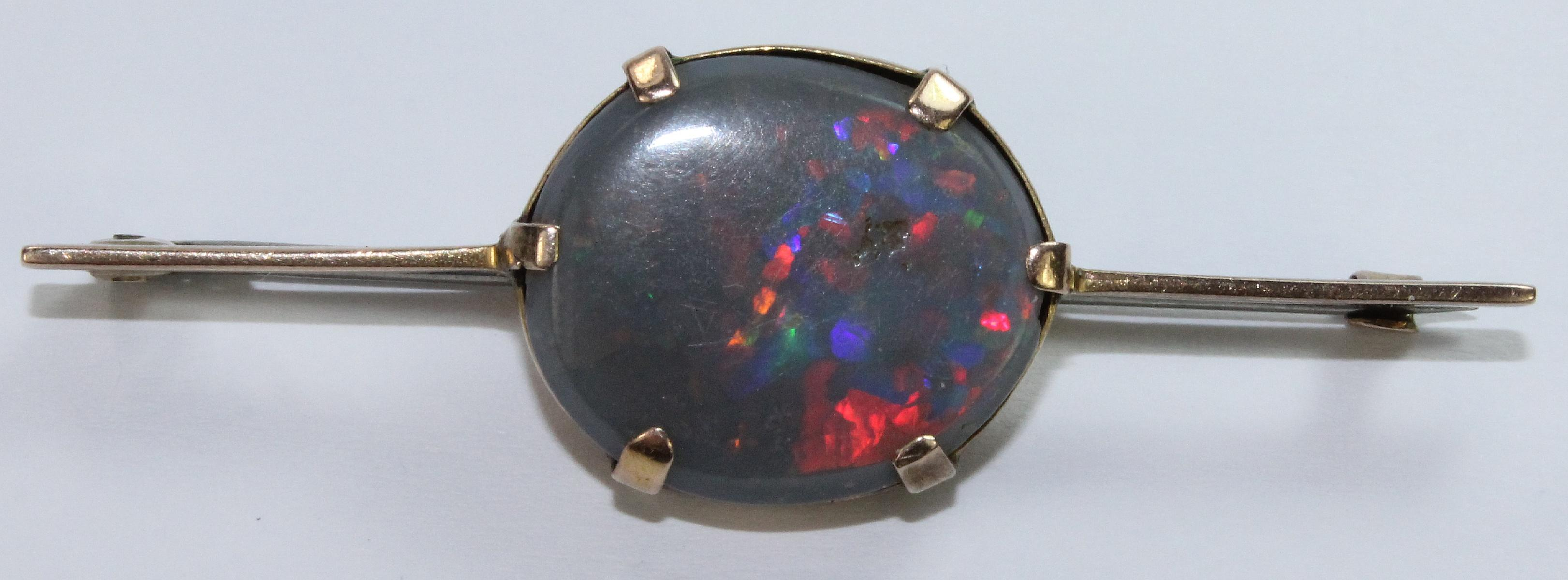 Solid Black Opal Pin Brooch in 9ct Yellow Gold