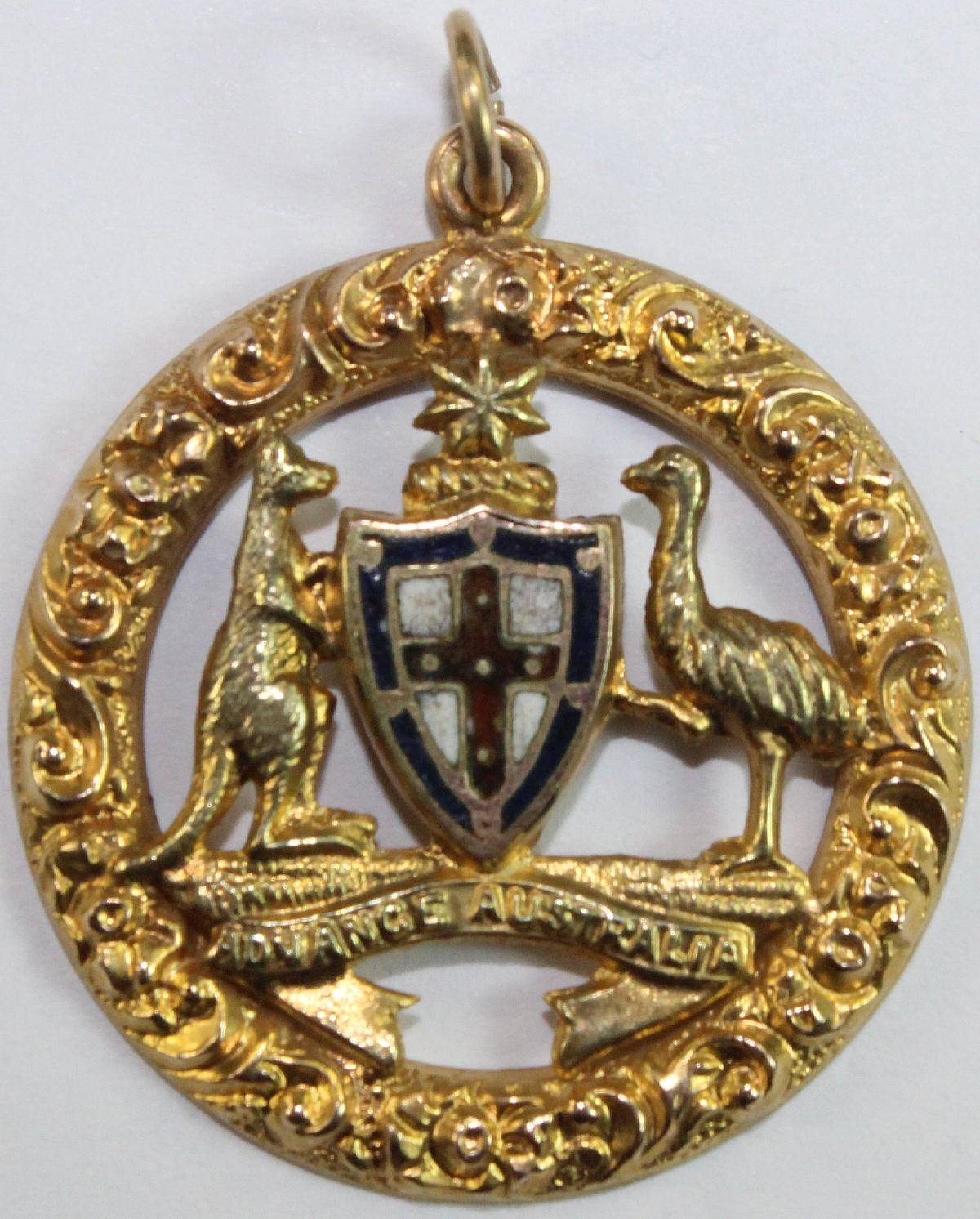 'Commonwealth of Australia' Patriotic Gold Fob in 12ct Gold by Willis & Sons (Melb) circa 1901
