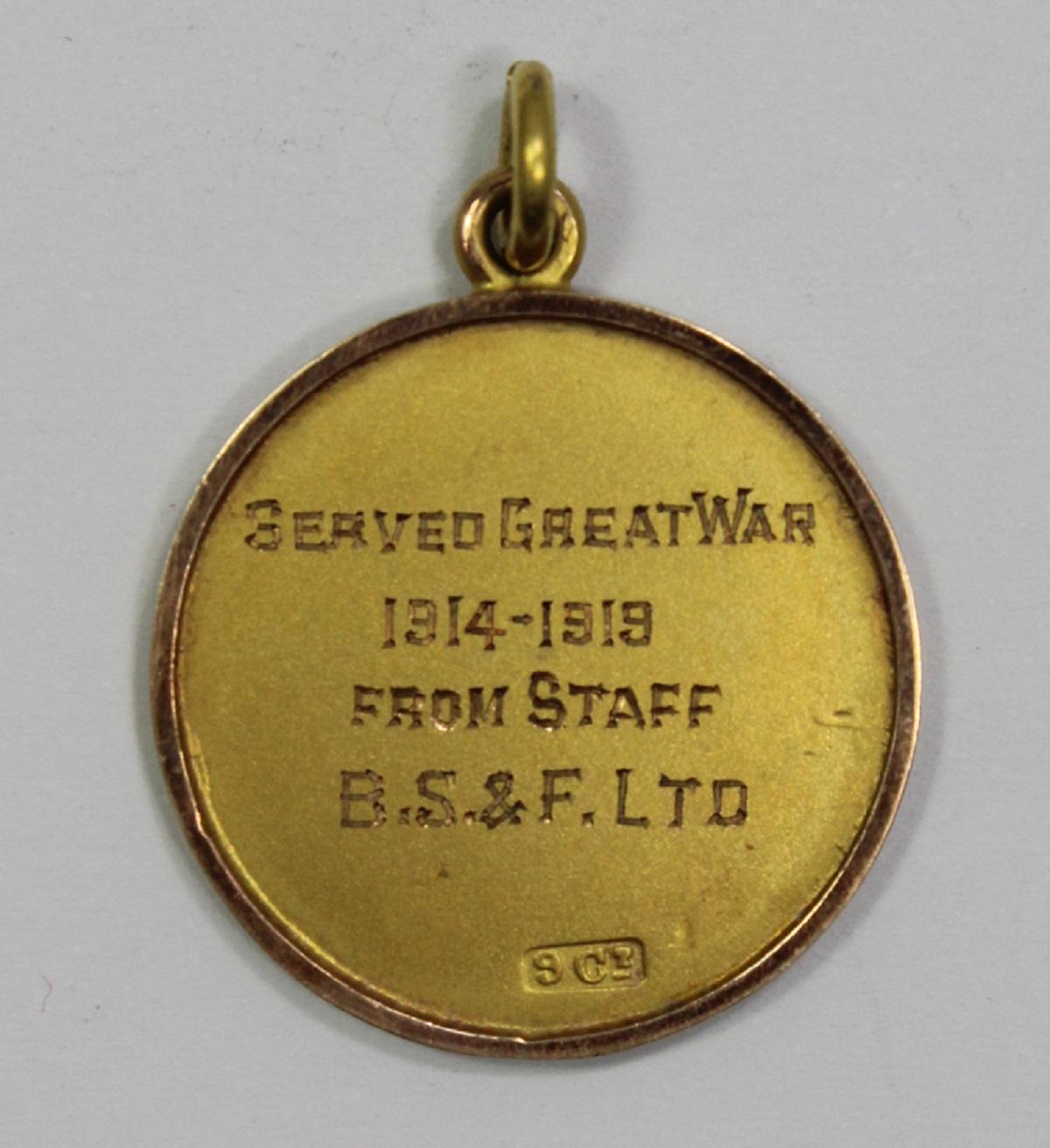"""WWI Australia. 9ct Gold Fob """"Served Great War 1914-1918, From Staff B.S.F. Ltd. - E Forsyth"""""""