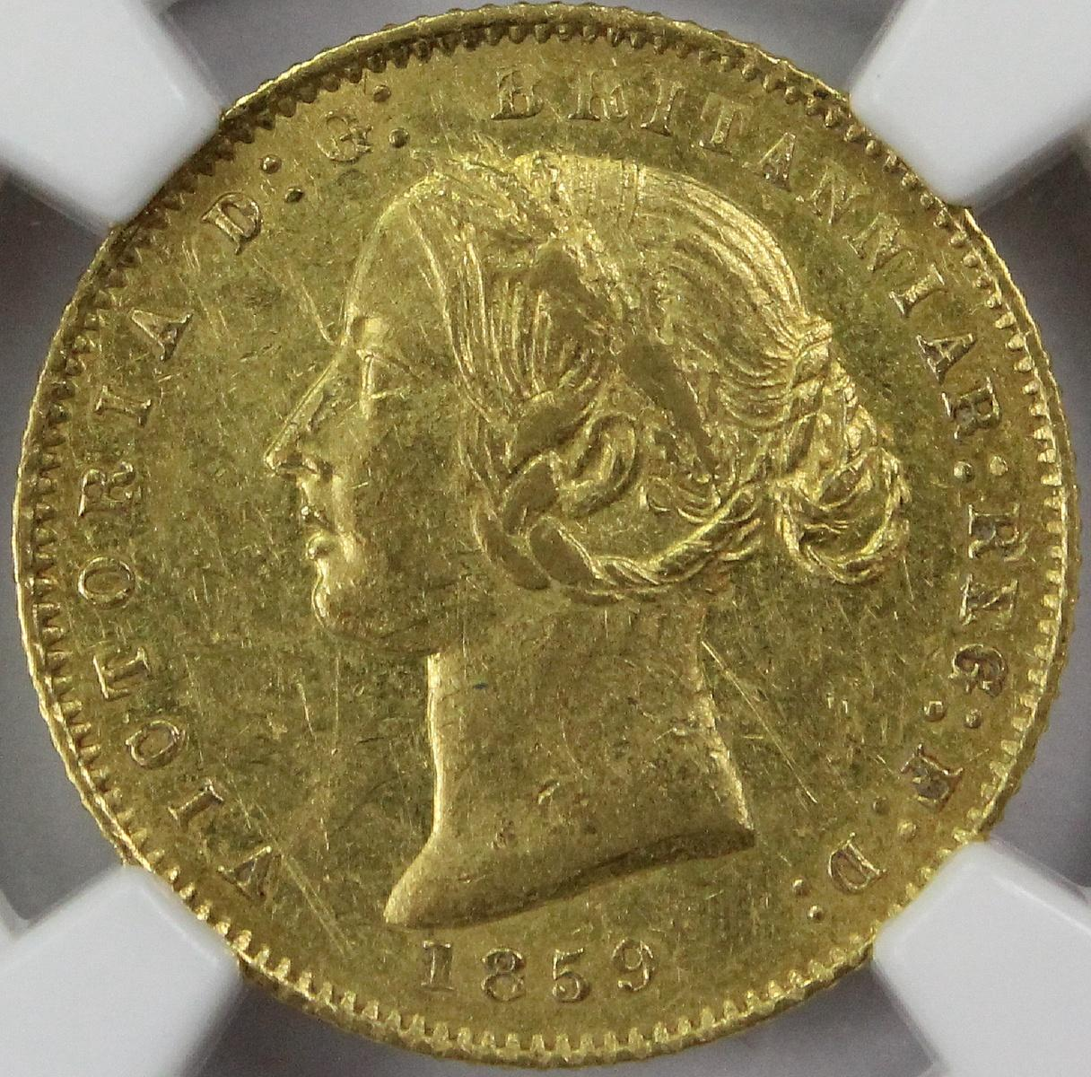 Australia. 1859 'Sydney Mint' Gold (0.916) Half Sovereign, PCGS AU55