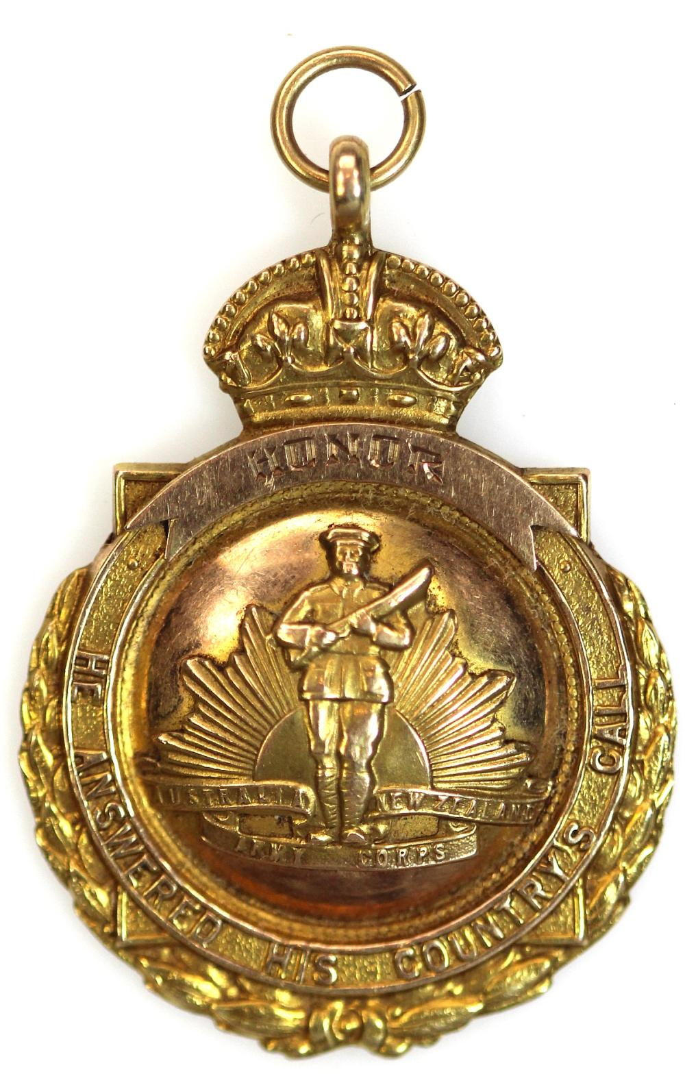 WWI Australia. Ornate Gold Fob in 15ct Gold 'Australia New Zealand Army Corps - He Answered His Country's Call,' Extremely Fine