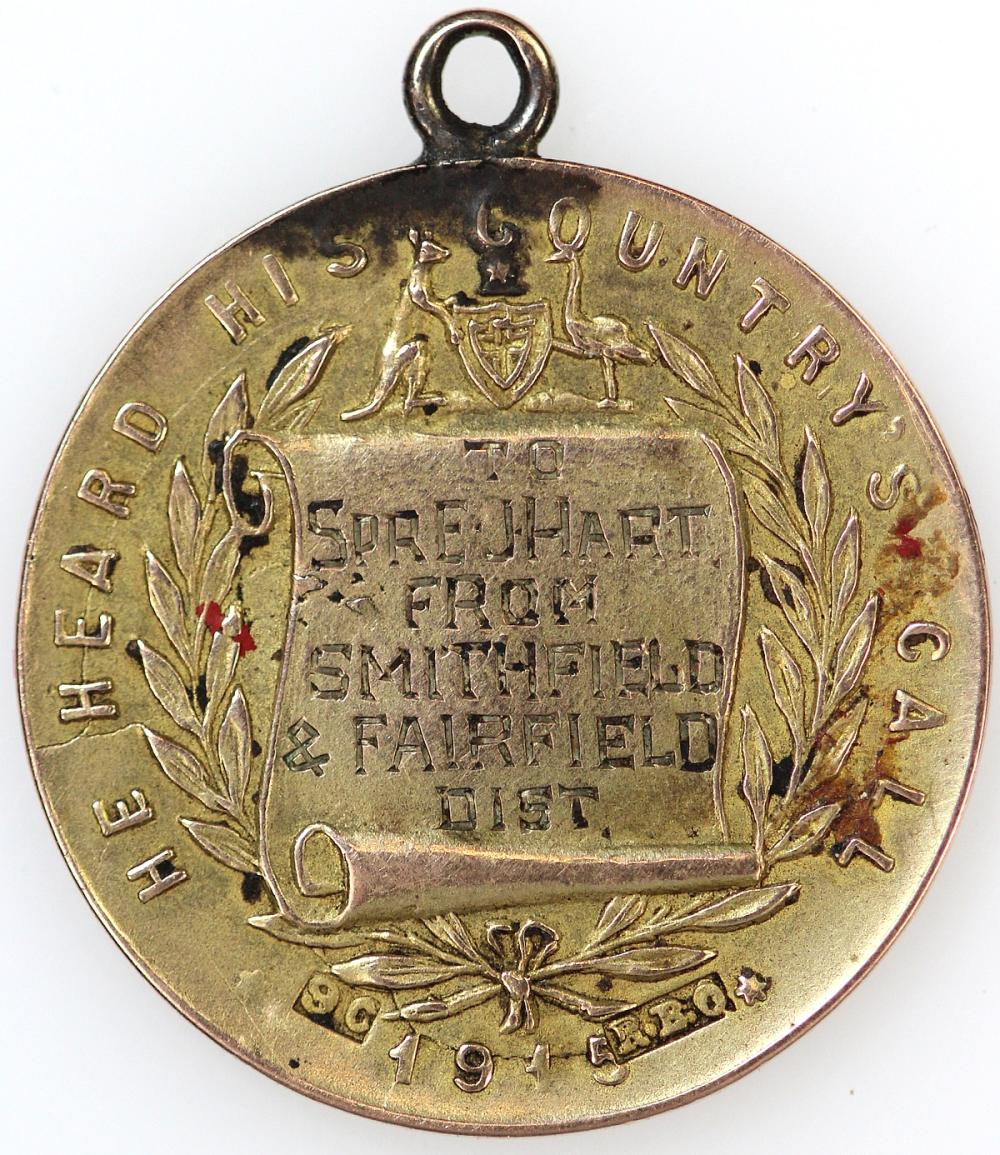 WWI Australia. 1915 'Anzac' Medalet in 9ct Gold