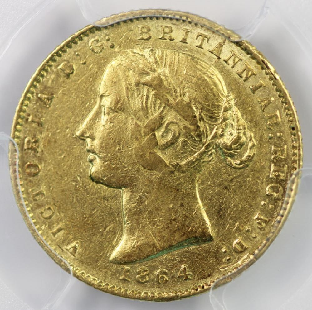 Australia. 1864 'Sydney Mint' Gold (0.916) Half Sovereign, PCGS XF45
