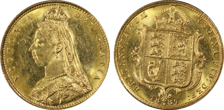 Australia. 1887 M Gold (0.916) Half Sovereign with 'spread JEB,' PCGS MS63