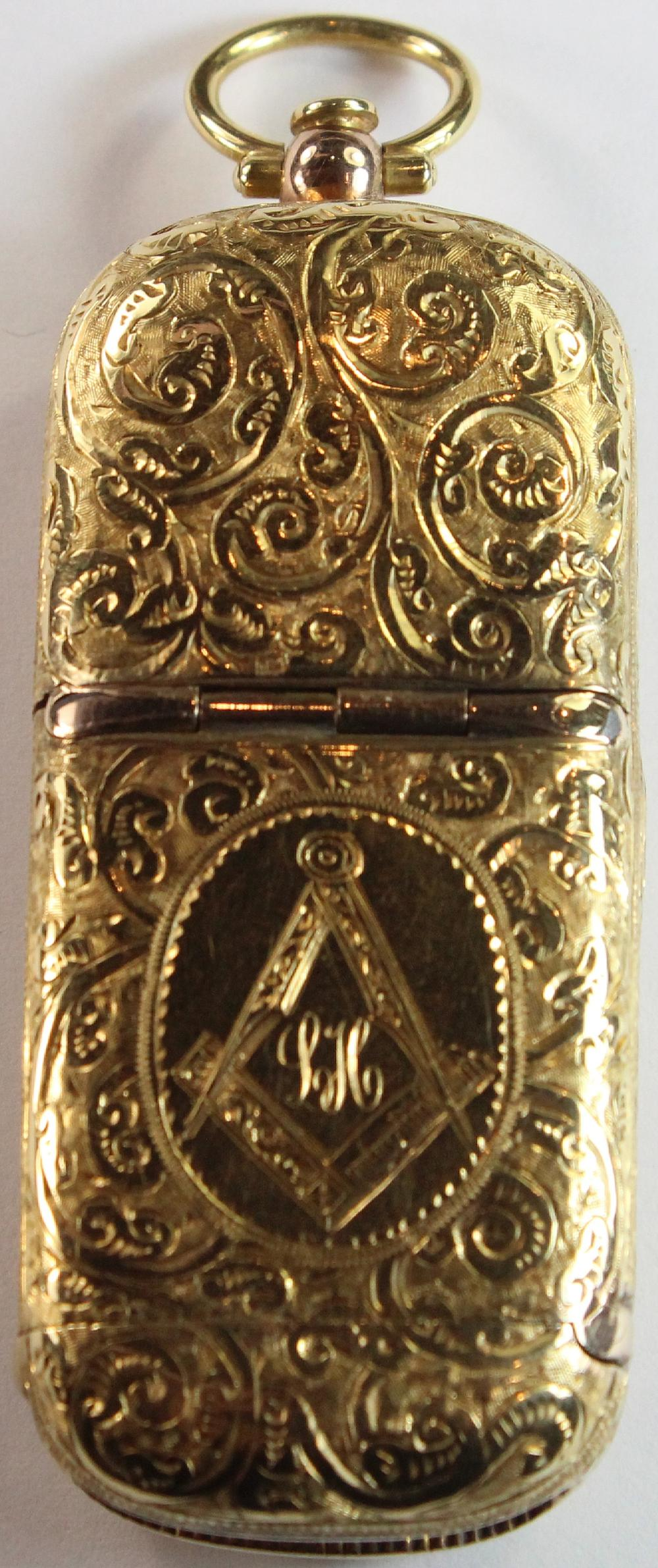 Sovereign & Vesta Case in 18ct Gold by Catananch (Melb) circa 1920s