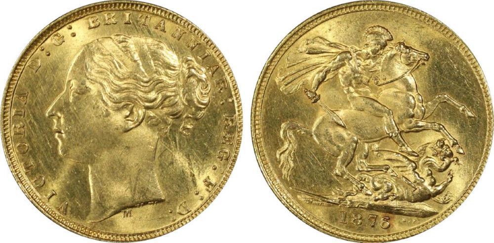 Australia. 1876 M 'St George' Gold (0.916) Sovereign, PCGS MS63 (looks better)