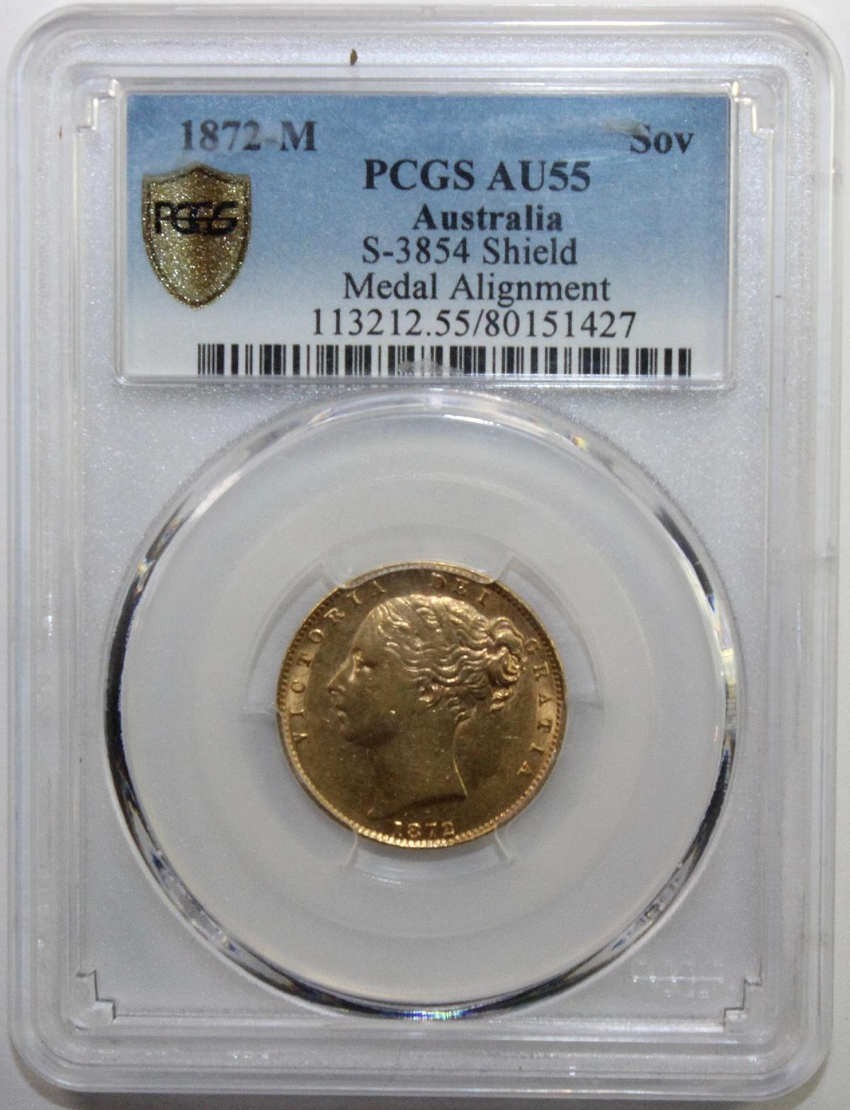 Australia. 1872 M 'Medal Alignment' Gold (0.916) Sovereign, PCGS AU55
