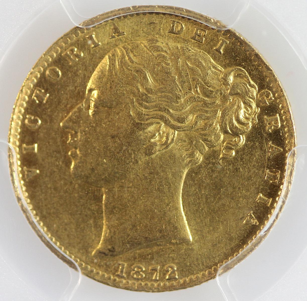 Australia. 1872 M 'Coin Alignment' Gold (0.916) Sovereign, PCGS AU58
