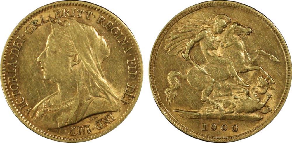 Australia. 1900 P Gold (0.916) Half Sovereign, PCGS AU50