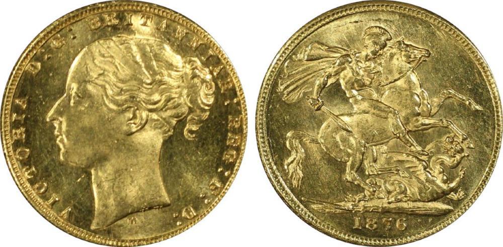 Australia. 1876 M 'St George' Gold (0.916) Sovereign, PCGS MS64+