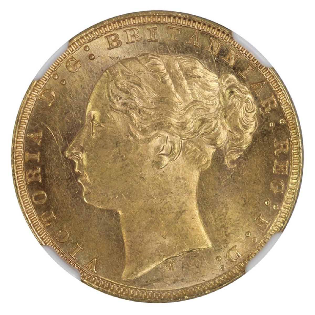 Australia. 1879 M 'St George' Sovereign, NGC MS62