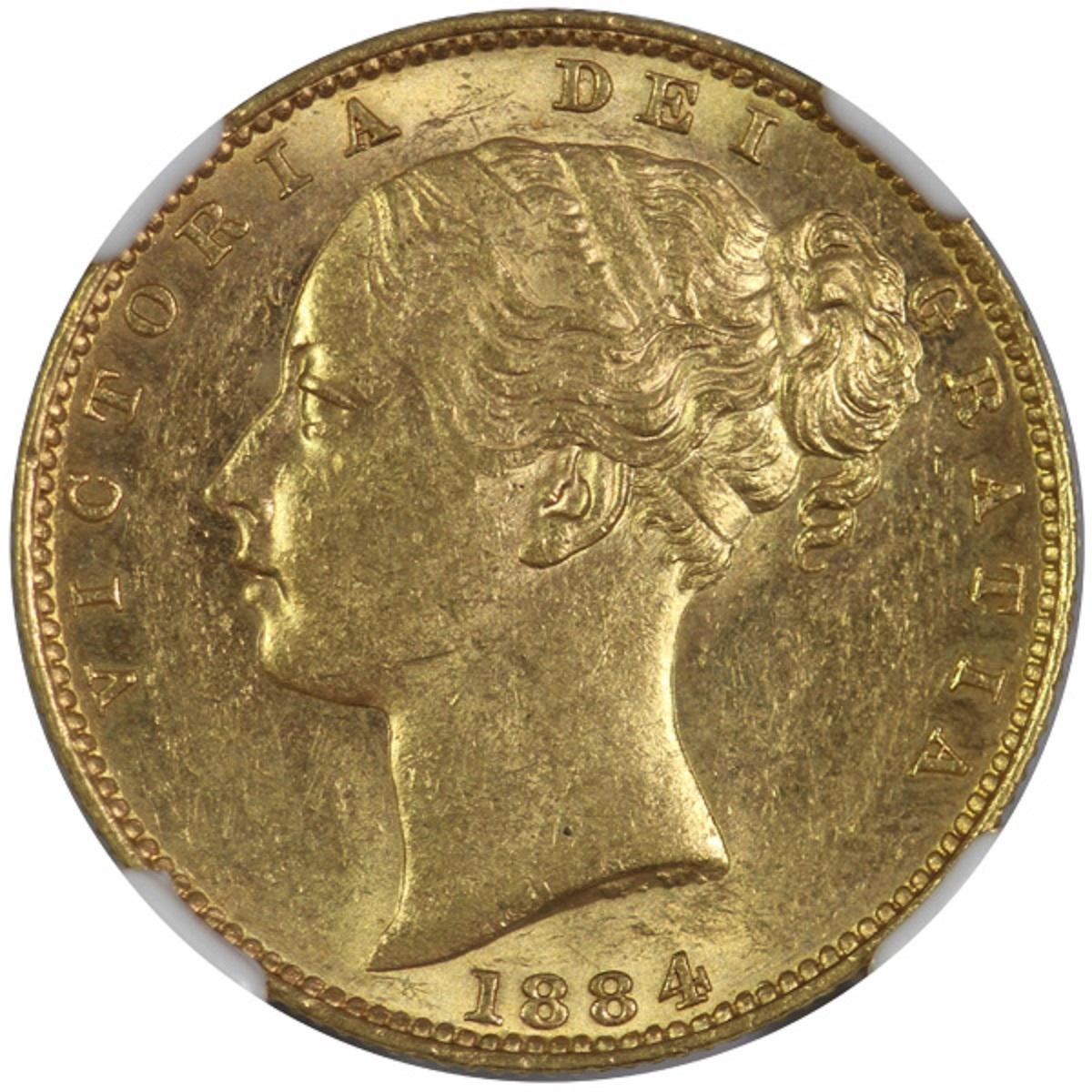 Australia. 1884 M 'Shield' Gold (0.916) Sovereign, NGC MS62