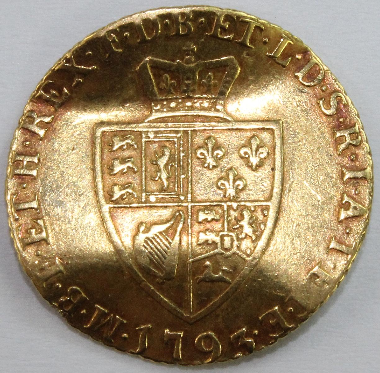 England (Great Britain). 1793 'George III' Gold (0.916) Half Guinea with 'Z' bend, about Very Fine