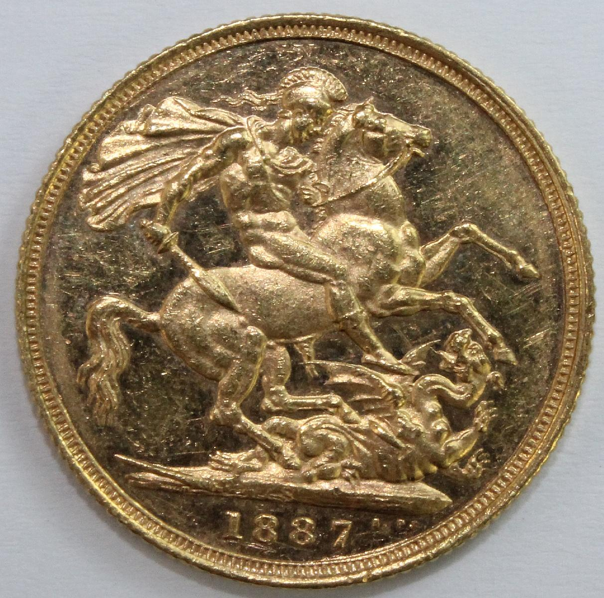 Australia. 1887 S 'Jubilee' Gold (0.916) Sovereign, about Uncirculated