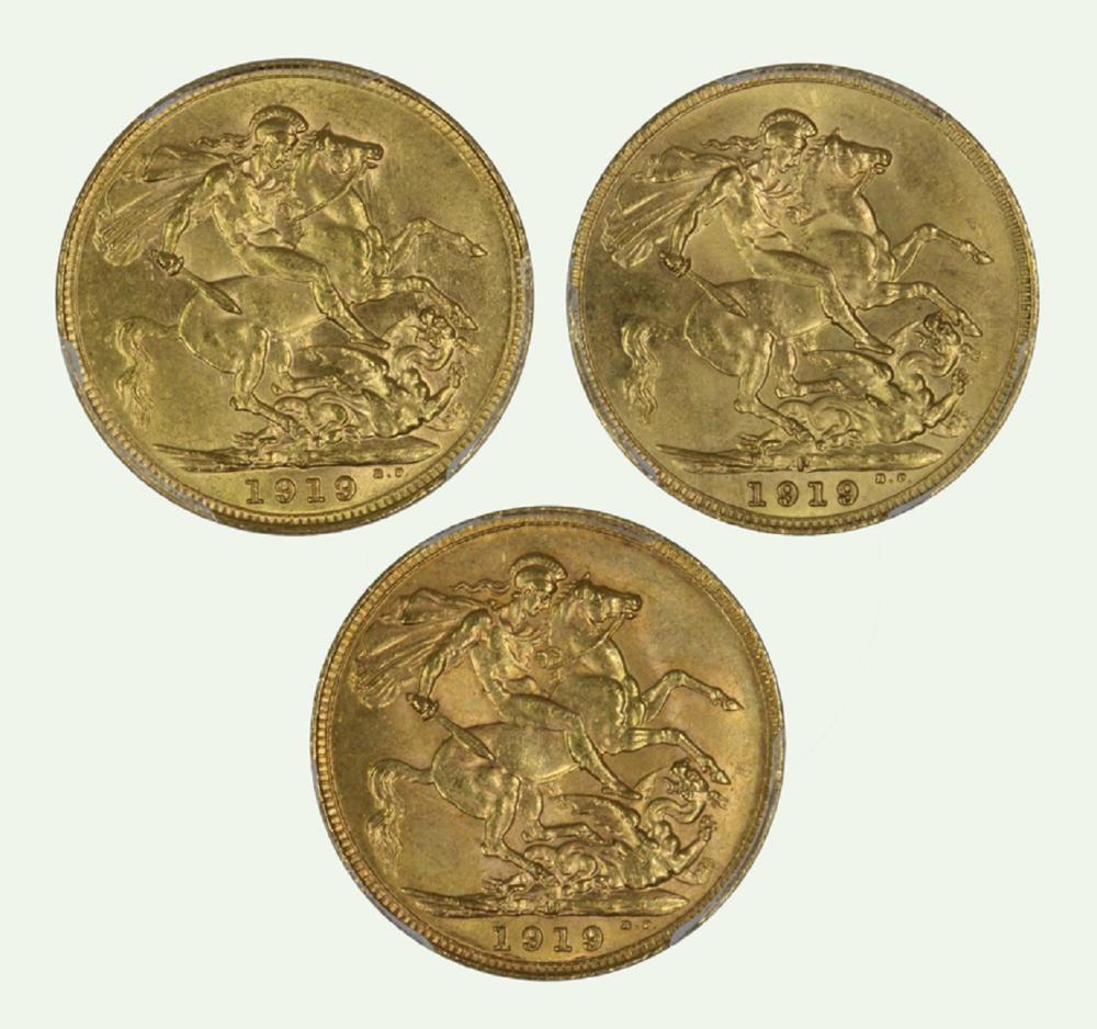 Australia. 1919 S, 1919 M, & 1919 P Gold (0.916) Sovereigns, PCGS MS61, PCGS MS63 & PCGS MS64 (3 coins)