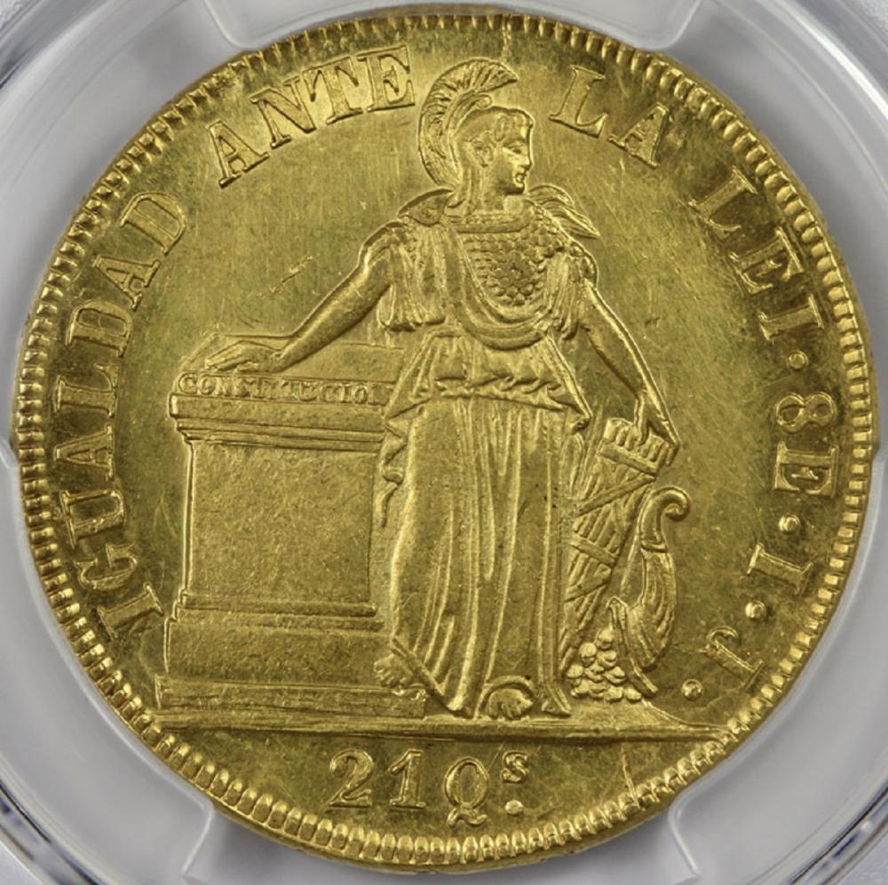 Chile. 1845 - So IJ 8 Escudos, PCGS MS62