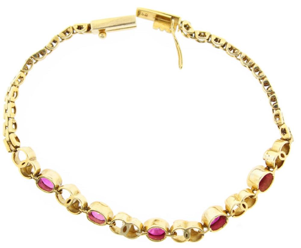 Bracelet in 18 Yellow Gold set with Rubies and small Diamonds