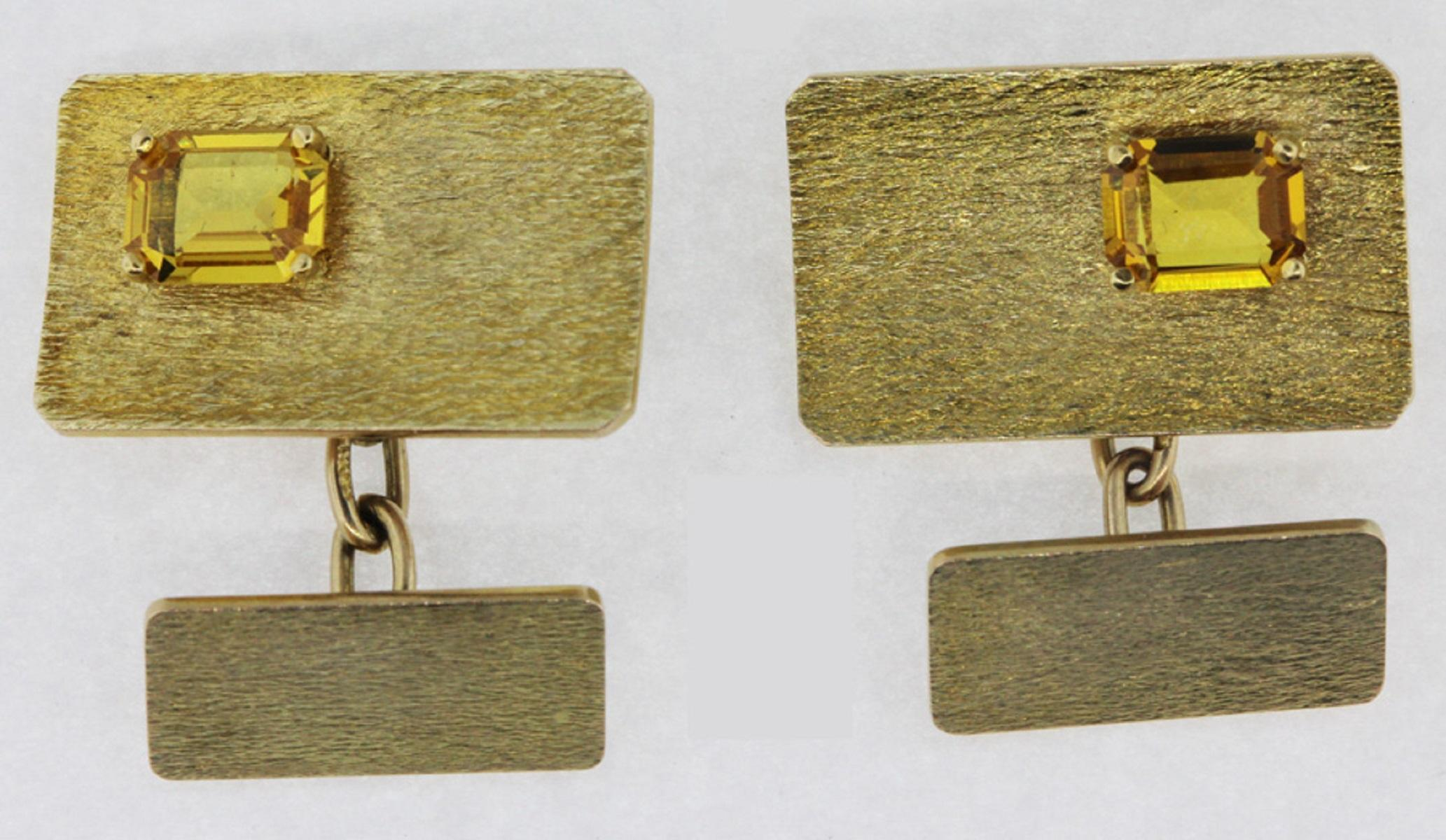 Vintage Cufflinks featuring Yellow Sapphires set in 9ct Gold