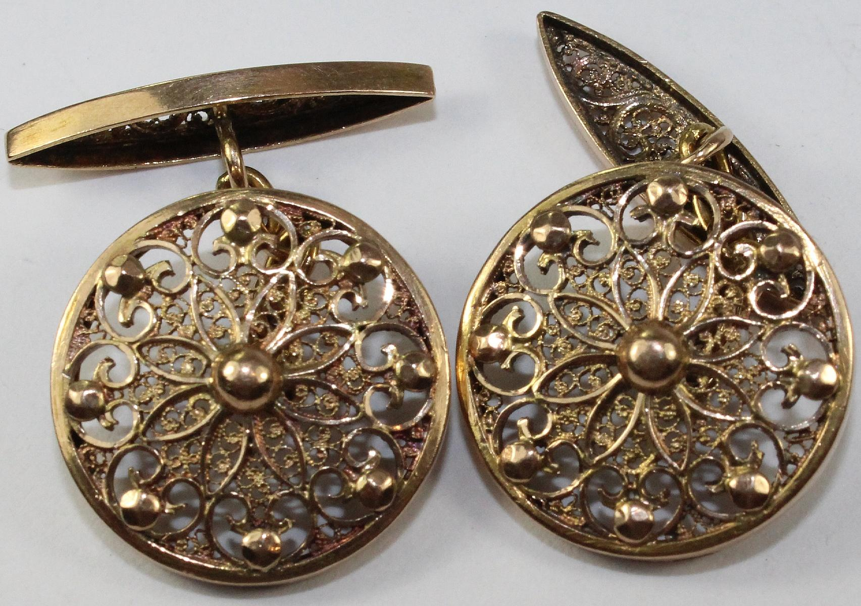 Pierced Shield Gold Cufflinks in 21ct Yellow Gold
