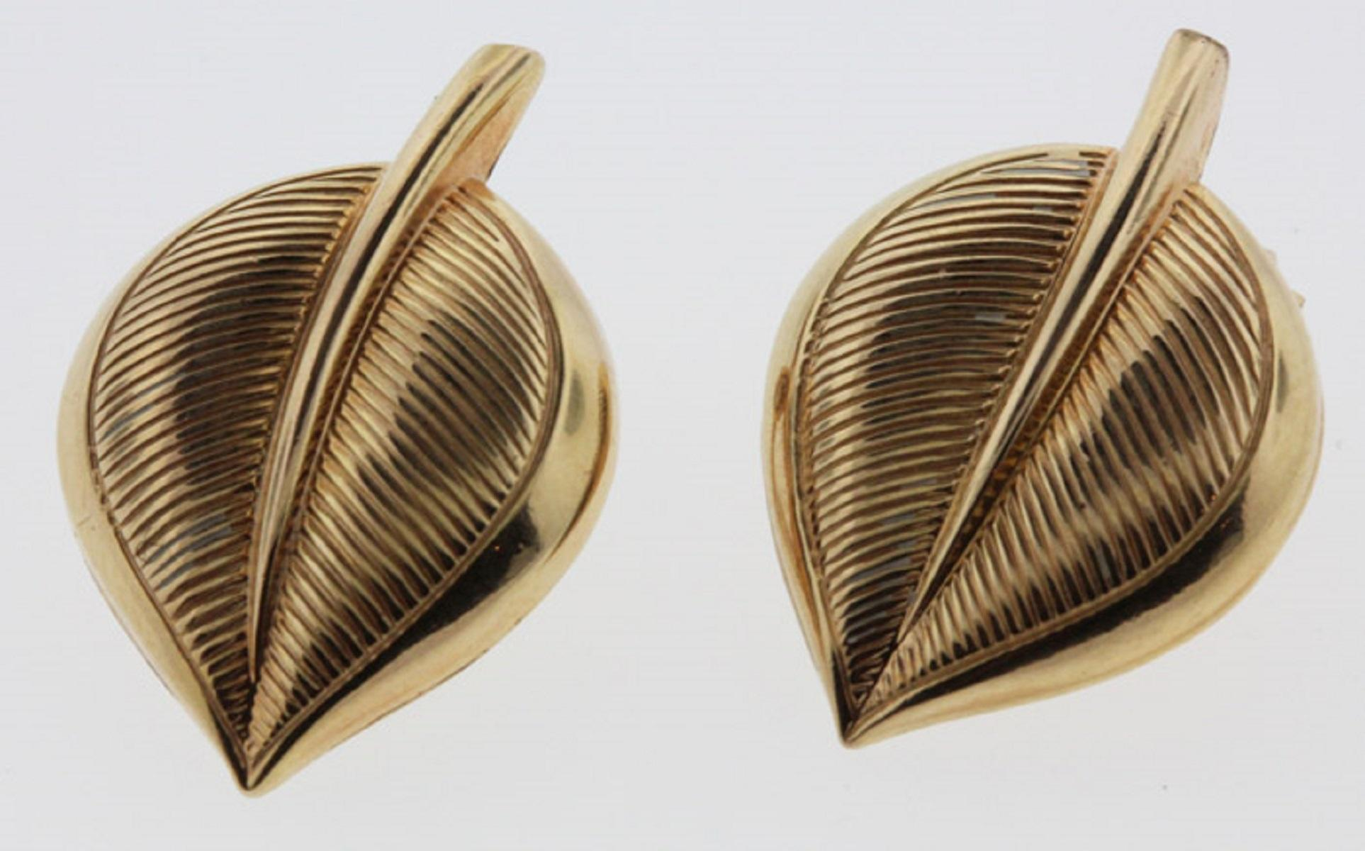 Leaf shaped Clip-on Earrings in 10ct Yellow Gold