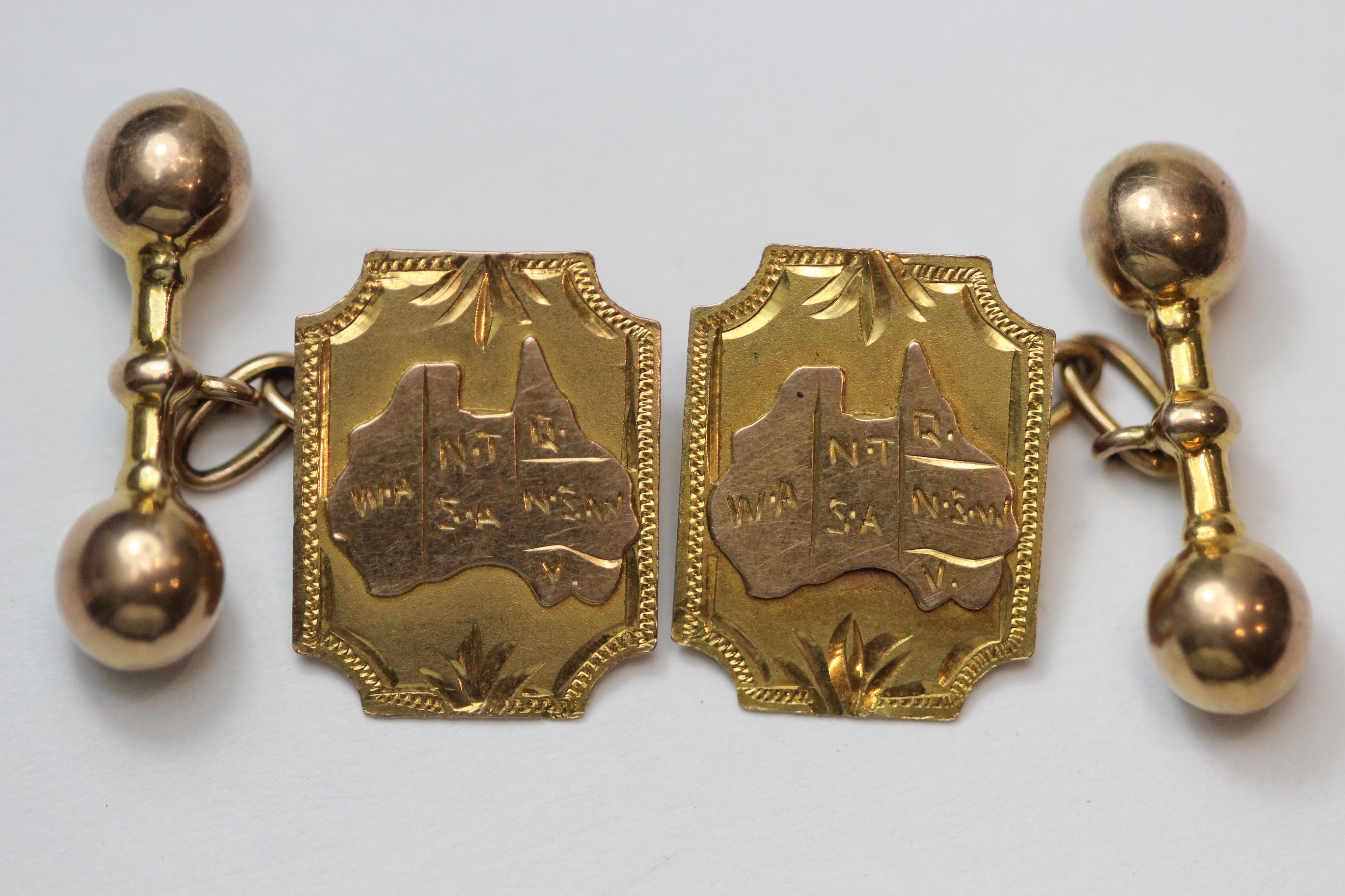 Vintage Cufflinks in 9ct Gold featuring a Map of Australia