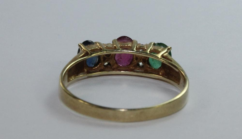 Birthstone Ring in 14ct Yellow Gold featuring Sapphire, Ruby, Emerald & Diamonds