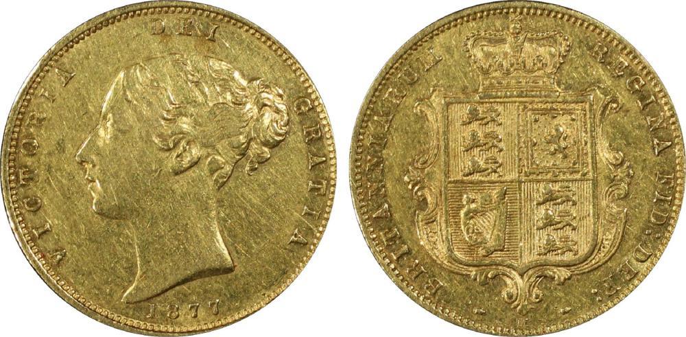 Australia. 1877 M 'Wide Ribbon' Gold (0.916) Half Sovereign, PCGS AU50