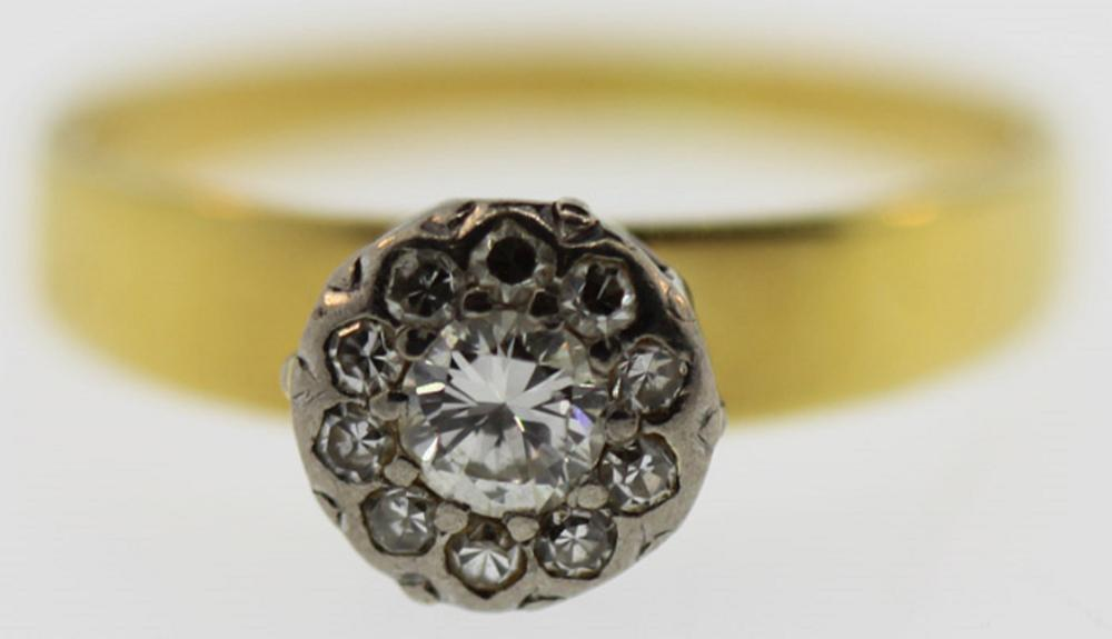 Diamond Cluster Ring in 18ct Yellow Gold