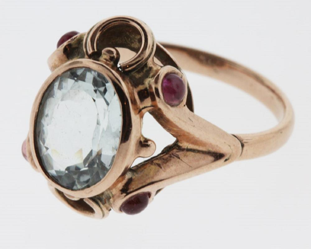 Vintage Aquamarine Ring in 9ct Gold with side Rubies