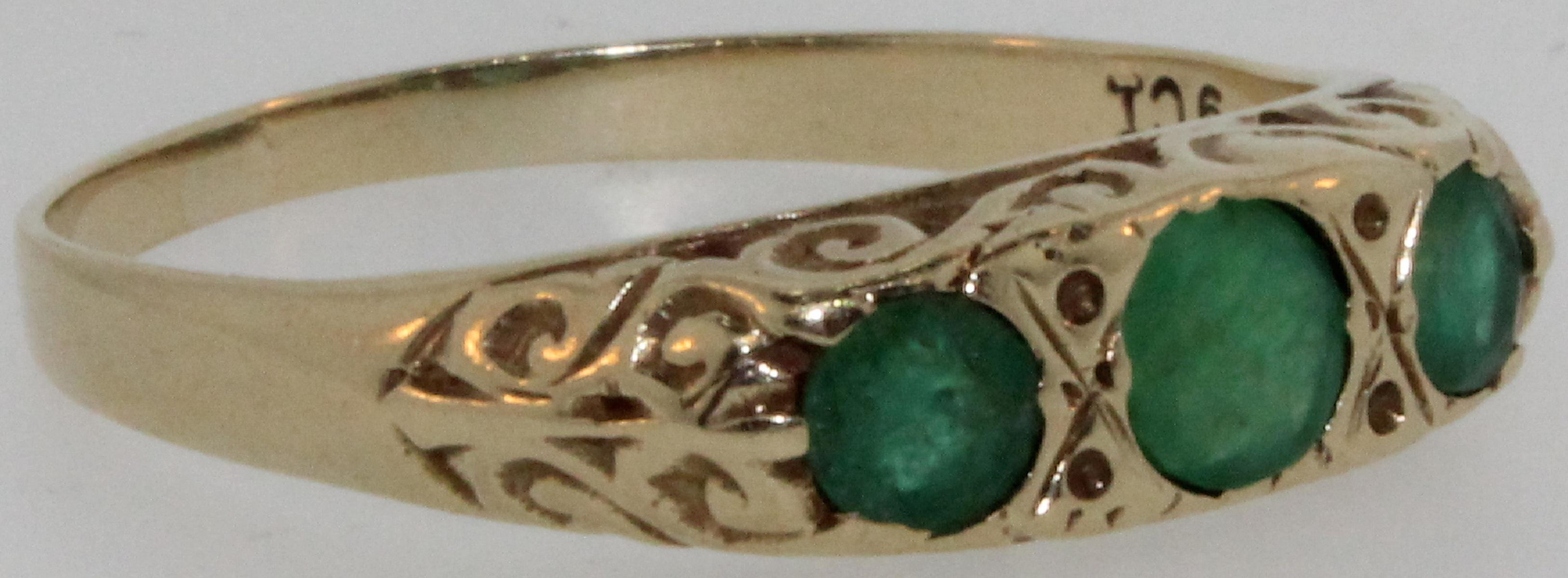 Vintage Emerald Ring in 9ct Gold