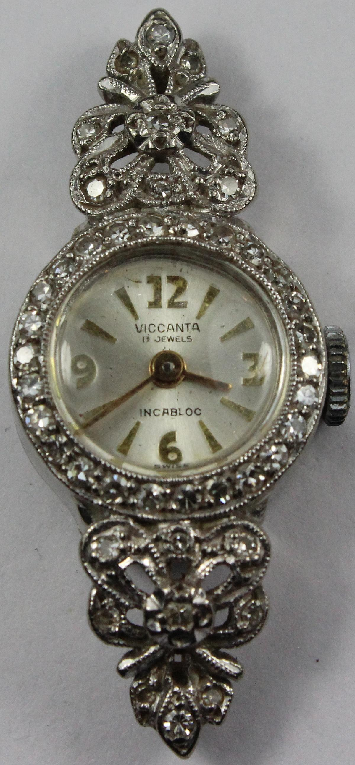Vintage Woman's 'Viccanta' Watch in 18ct White Gold with Diamonds inset in the surrounds
