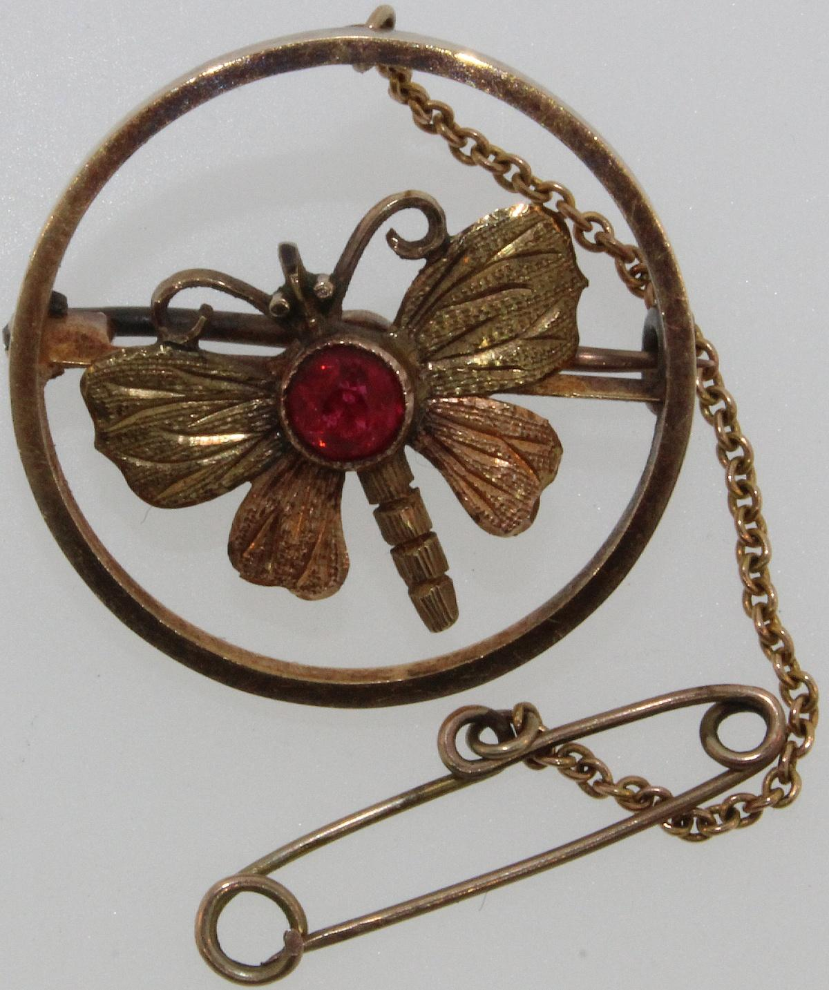Vintage 14ct Gold Butterfly Brooch with Red Stone insert