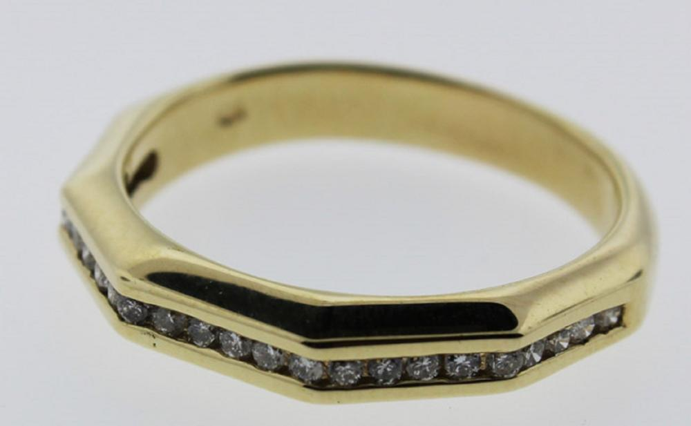 Modern 9ct Yellow Gold Ring with 24 channel-set Diamonds