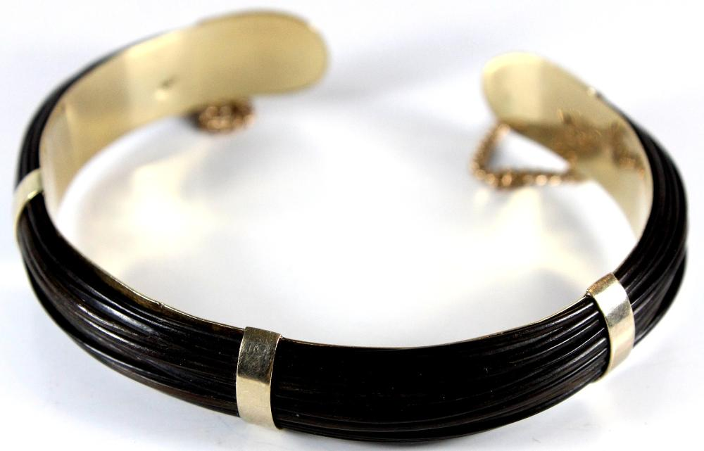 Unusual Elephant Hide Twine Bangle in 9ct Gold