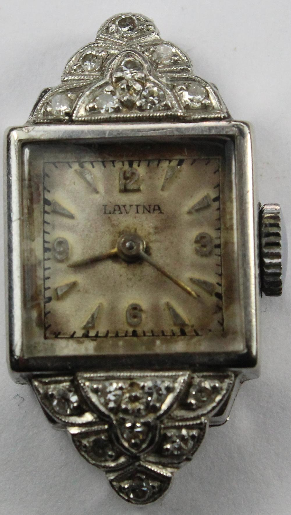 Vintage Woman's 'Lavina' Deco Watch in 18ct White Gold with Diamond sprays