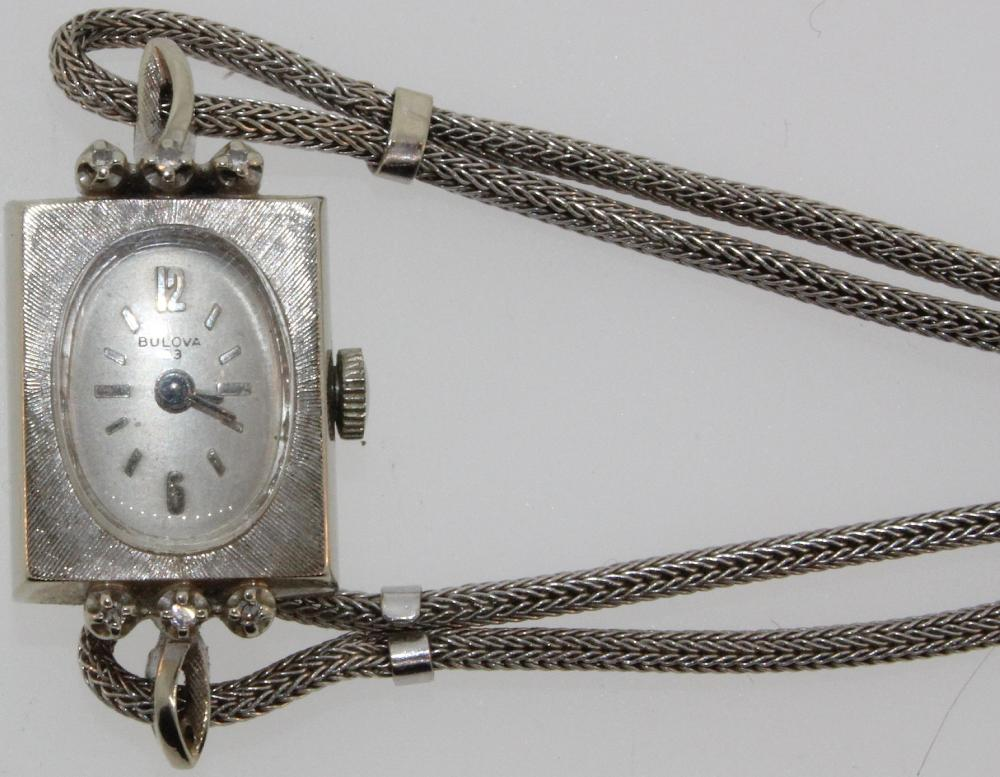 Vintage Woman's 'Bulova' Watch in 14ct White Gold with matching custom Band