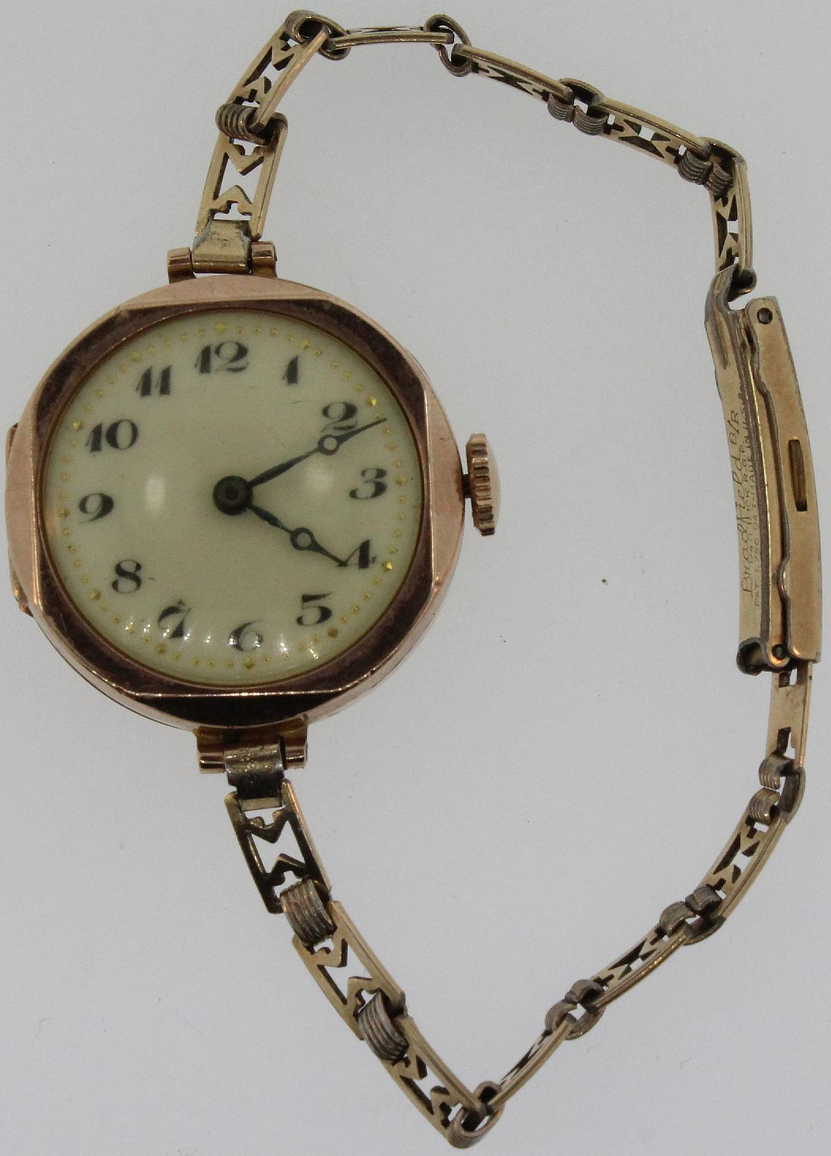 Vintage 9ct Gold Woman's Watch with Arabic numerals on as Yellow Porcelain Dial