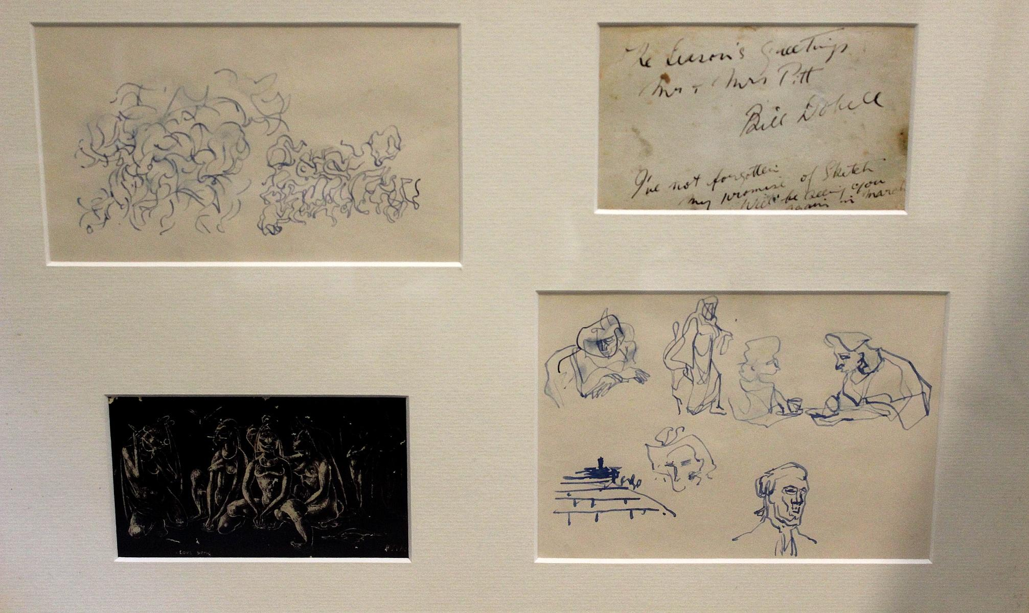 William Dobell (Australian, 1890-1970). Pen on Paper Compositional Sketch along with a number of Head & Figures studies.