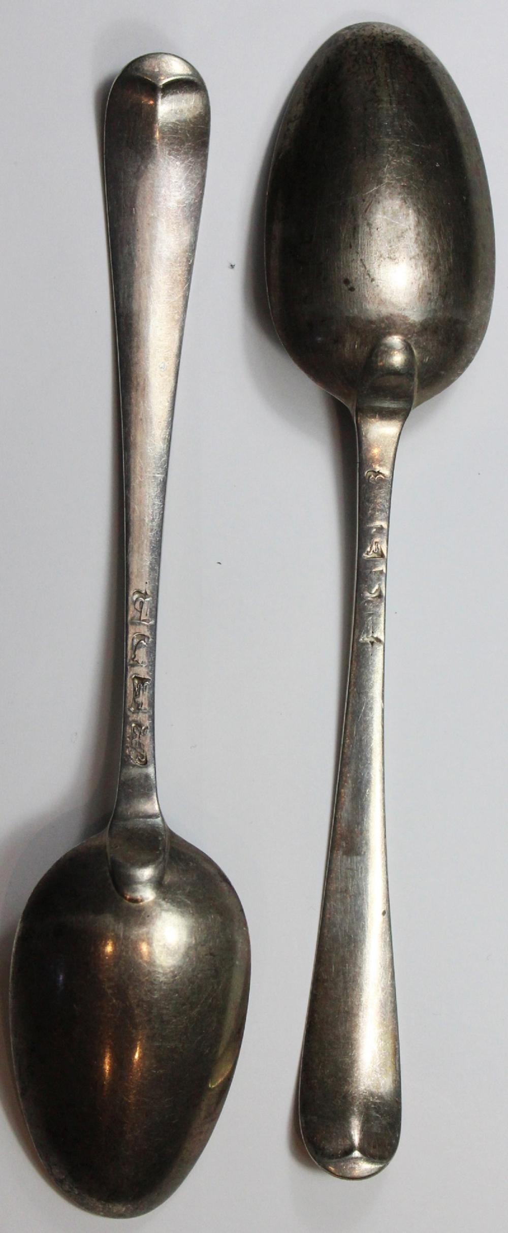 Silver Table Spoons by famous woman silversmith 'Hester Bateman' (Matching Pair)