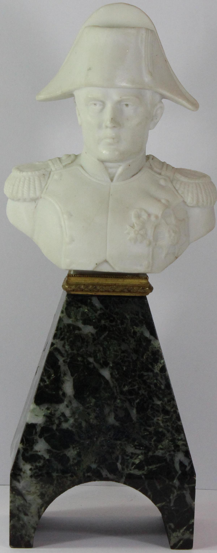 19th Century Parian bust of Napoleon Bonaparte in a Green Granite Pedestal