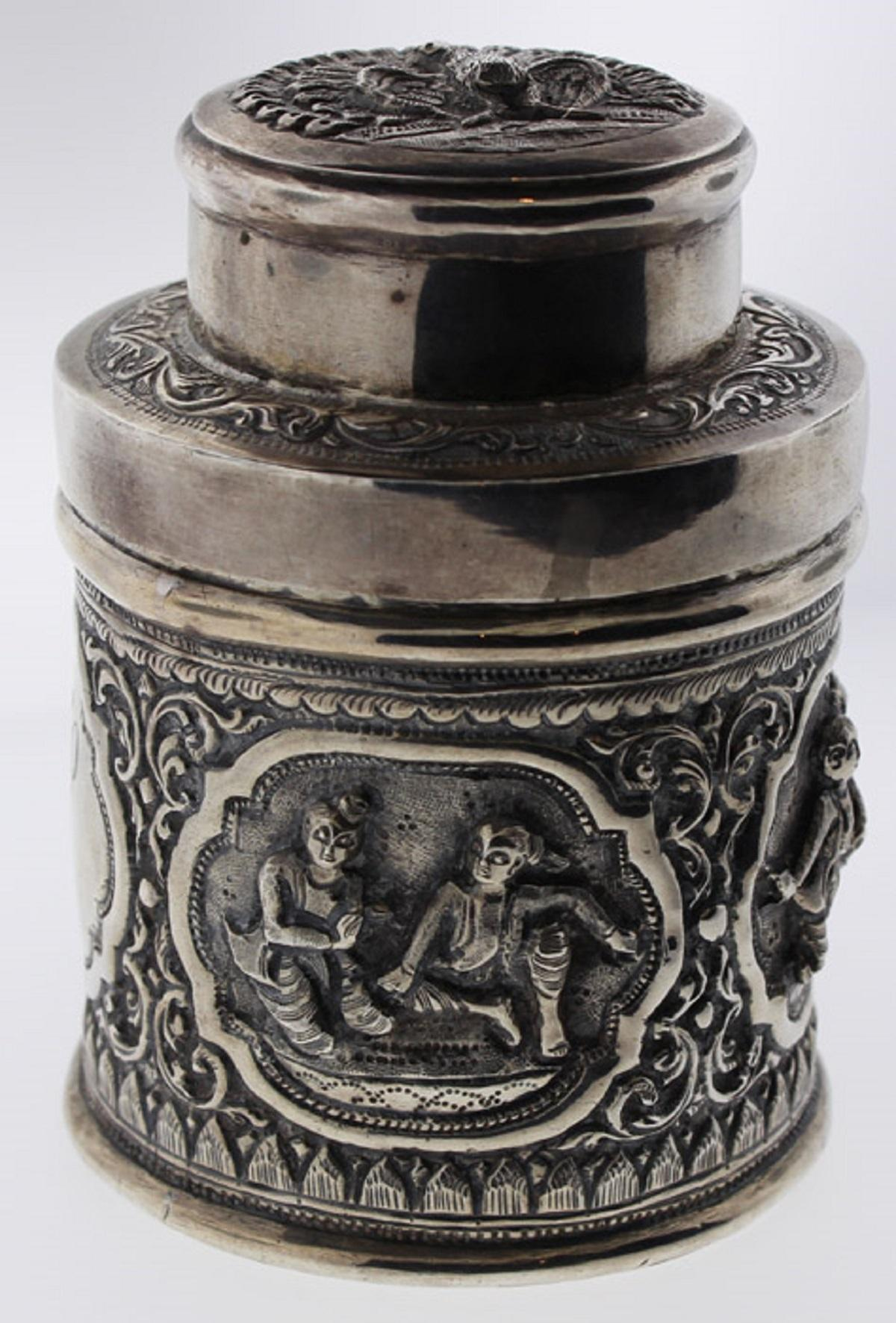Siam Silver (0.925) Cannister with resting figures & Peacock on lid