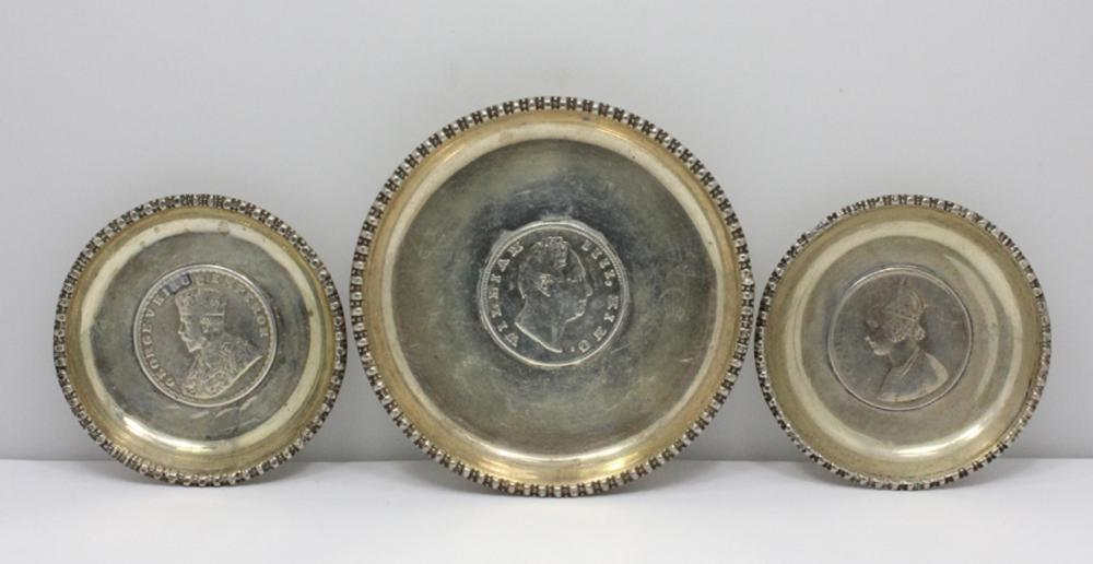 Silver Pin Dishes inset with Indian Silver Rupee Coins (3 items)