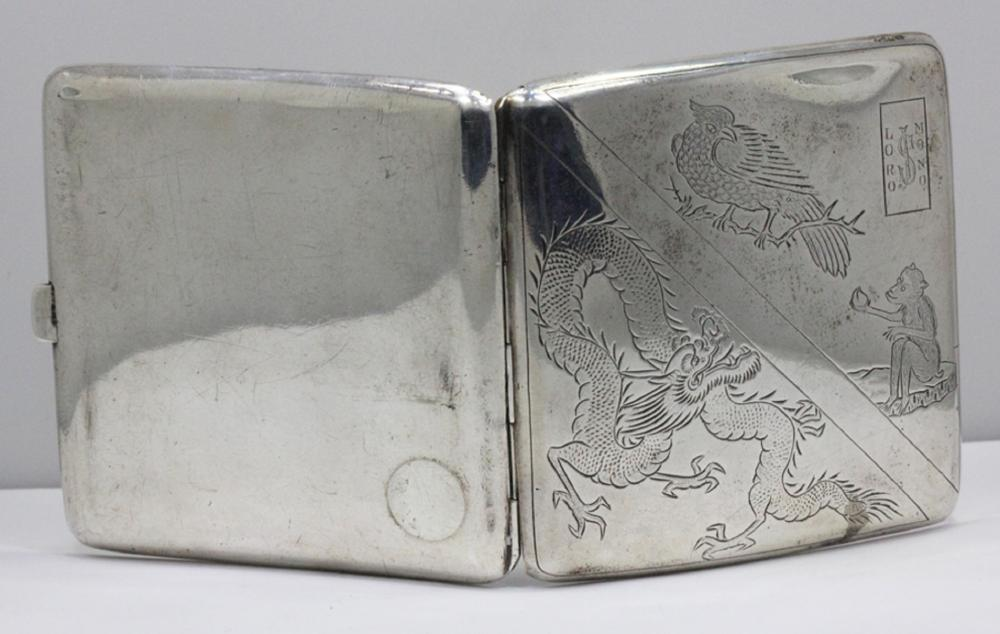 "Silver Cigarette Case with Chinese engravings & inscribed ""Lord Nono'"