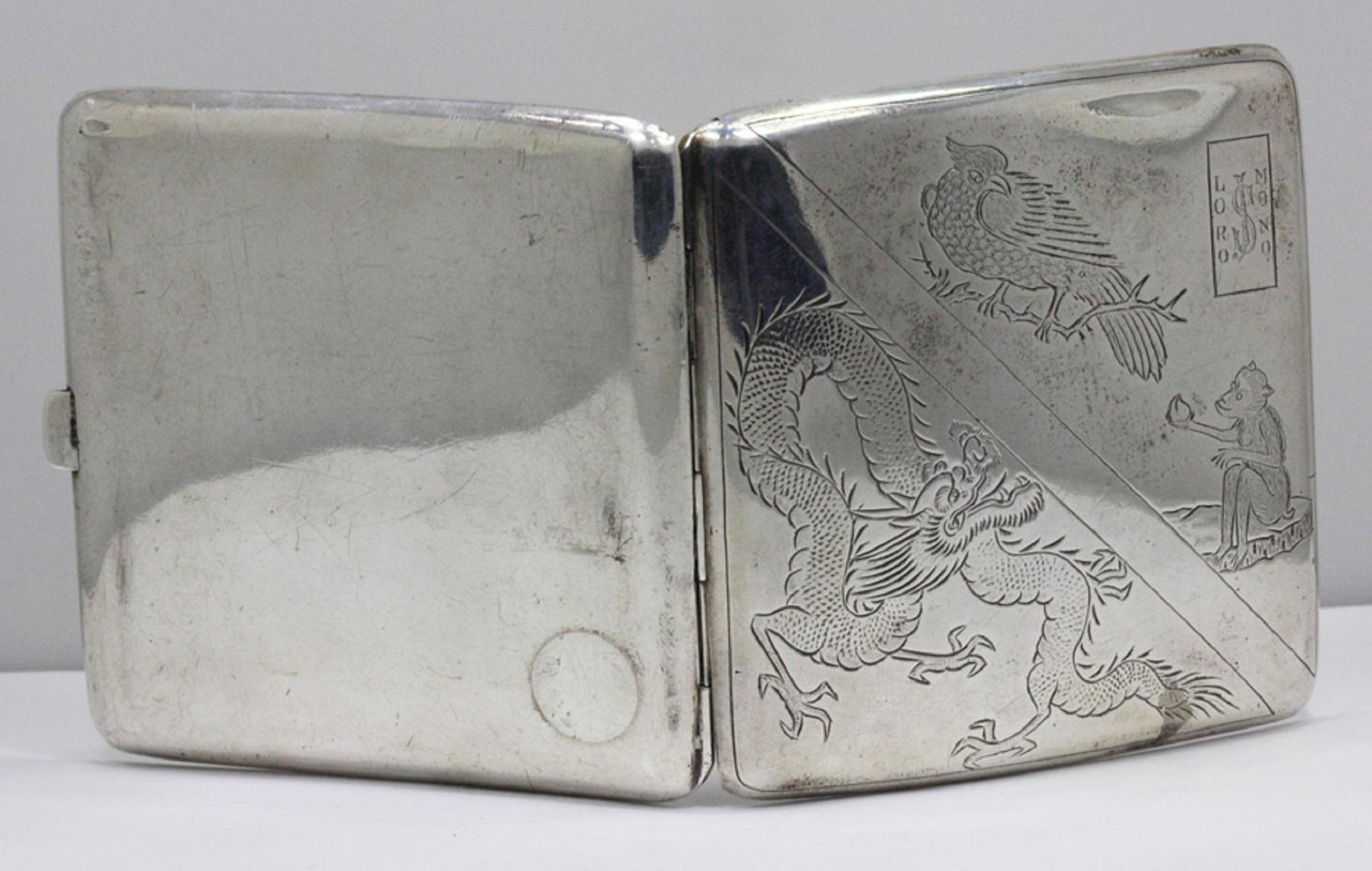 """Silver Cigarette Case with Chinese engravings & inscribed """"Lord Nono'"""