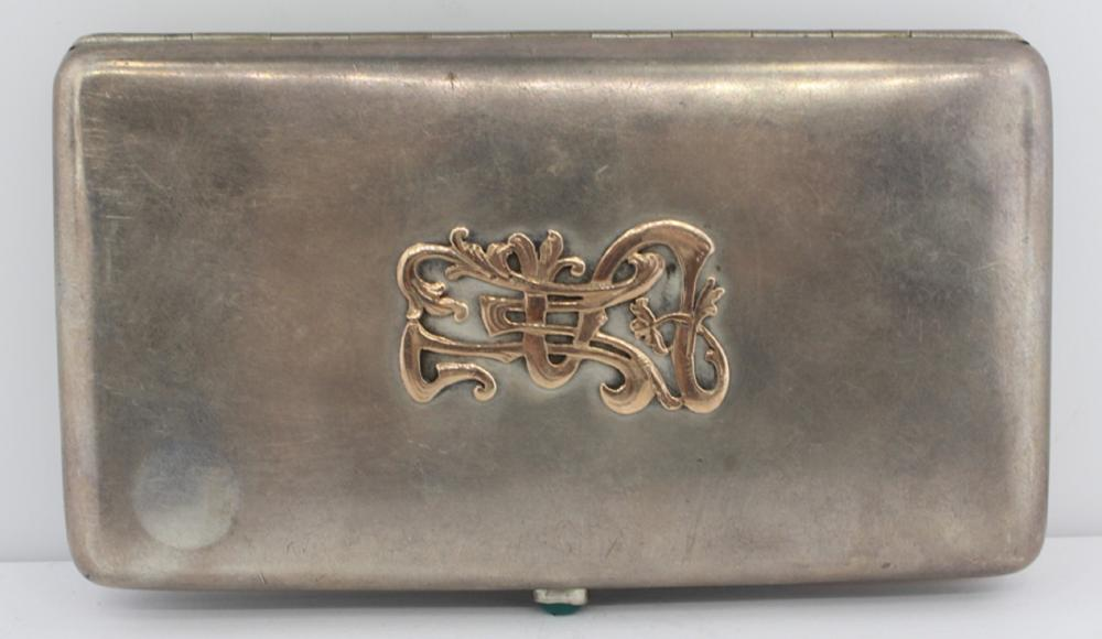 Vintage Russian Silver Cigarette Case with Cabochon Emerald Button and additional Gold Ornaments