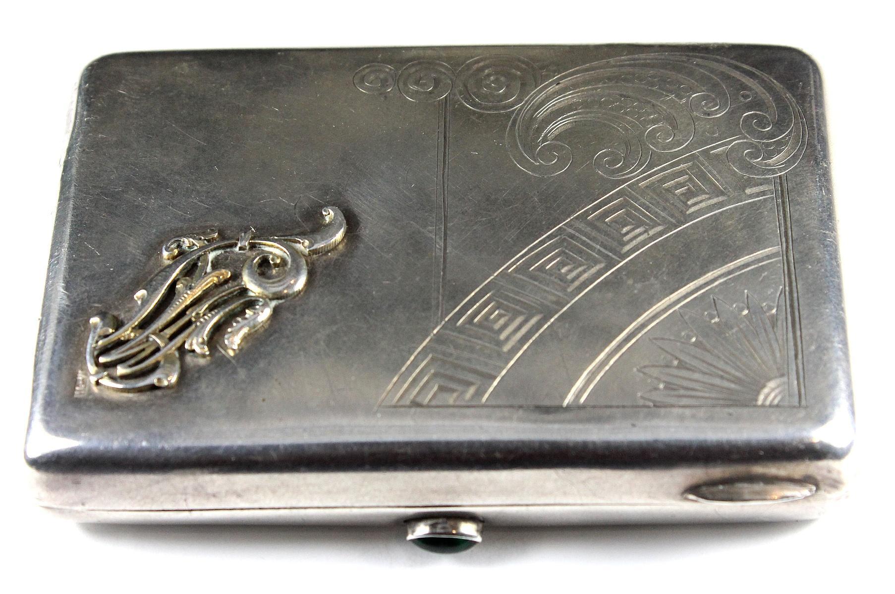 Antique Russian (0.875) Silver Cigarette Case with Emerald button